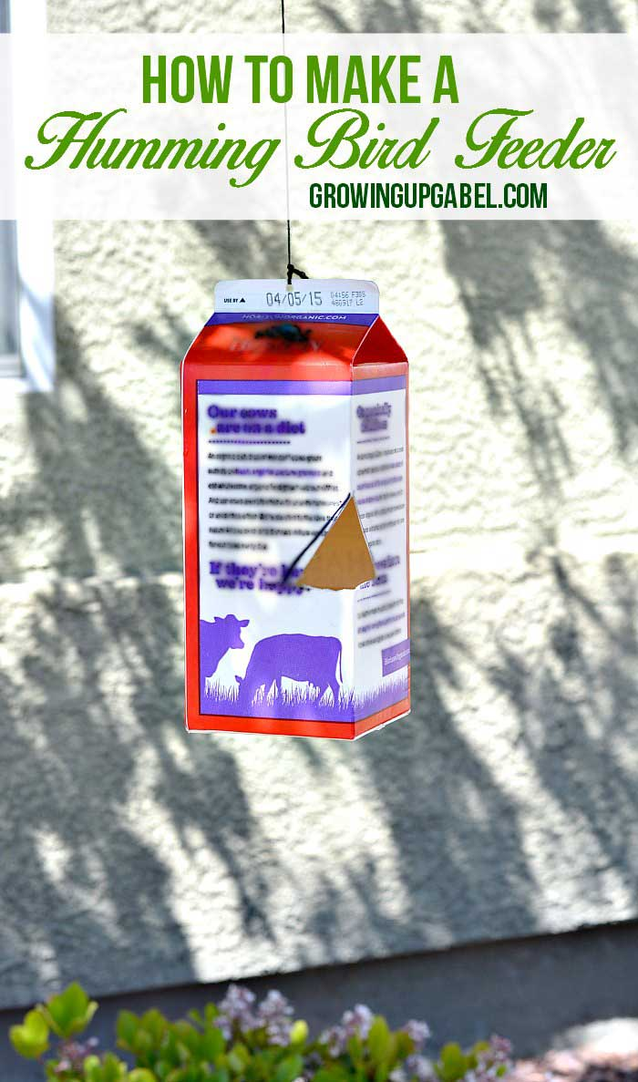 Looking for a way to get kids interested in nature? Make a humming bird feeder from a milk carton with this easy craft tutorial!