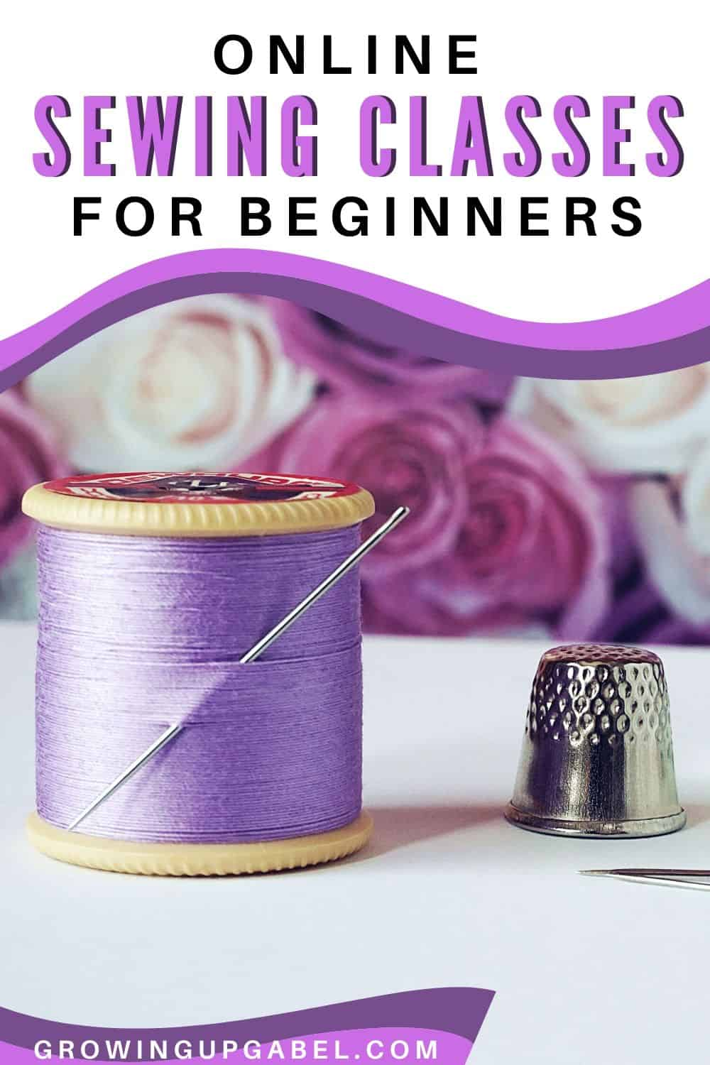 purple spool of thread with a thimble - online sewing classes for beginners