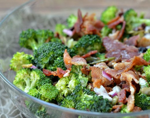 Broccoli Salad Recipe with Bacon, Pumpkin Seeds, and Dried Cherries