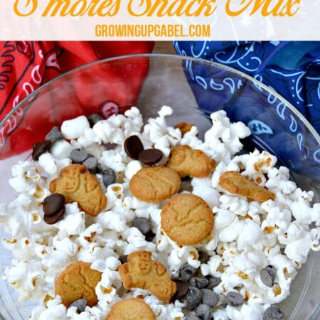 Need a kid friendly snack for summer travel? Make this easy snack mix recipe! Just a few simple ingredients makes a fun summer s'mores snack mix kids love!