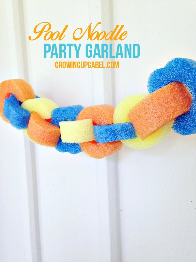 Make a fun dollar stores pool noodle garland for summer pool parties! A fun pool noodle craft, this DIY project is easy for the kids to help make, too.