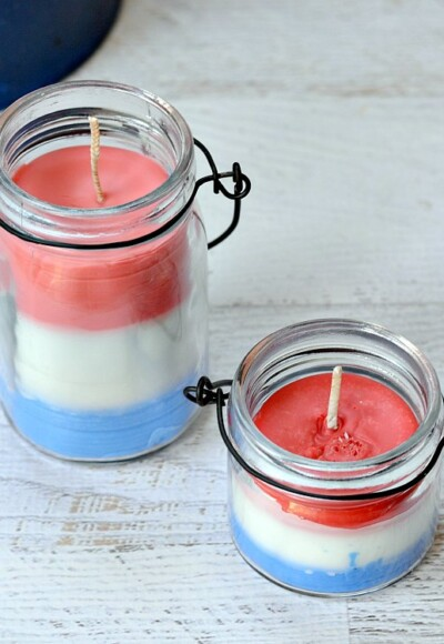 Make red white and blue candles for summer parties! Use old crayons to make each layer a different color.