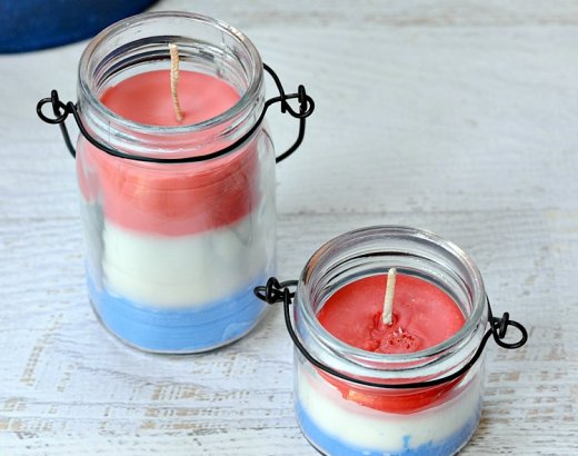 Red, White, and Blue Homemade Citronella Candles