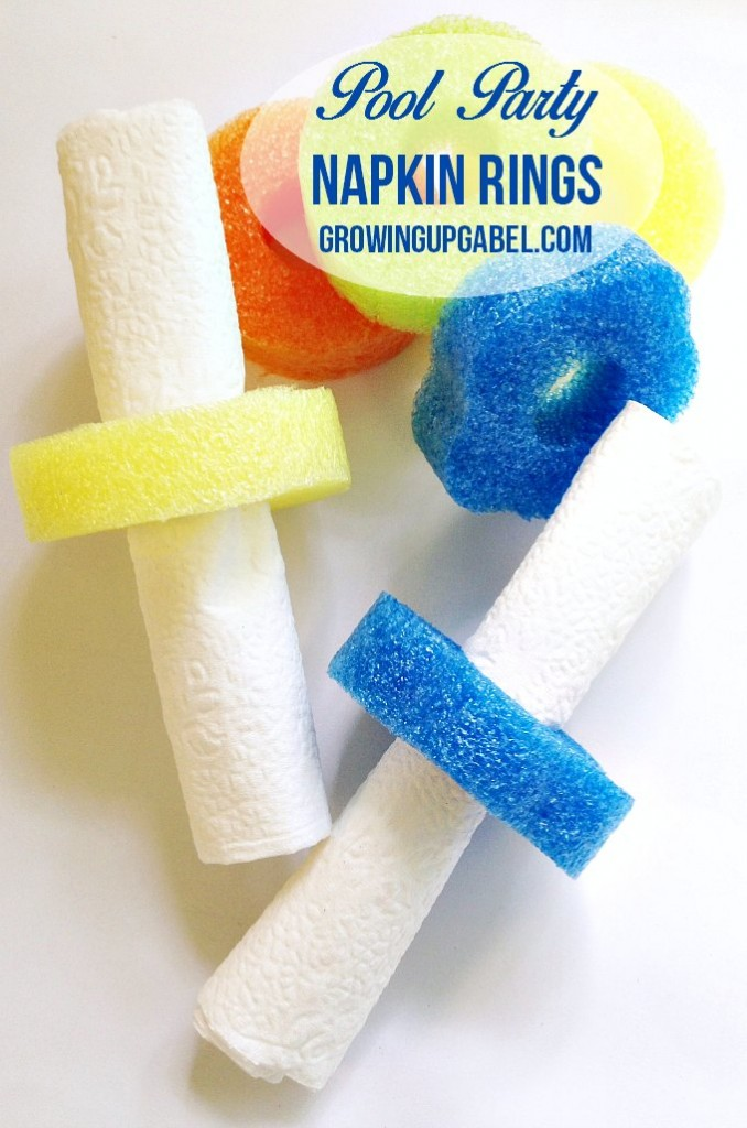Looking for unique pool party accessories? Check out these napkin rings made from pool noodles! A quick and easy pool party decoration that will look great!