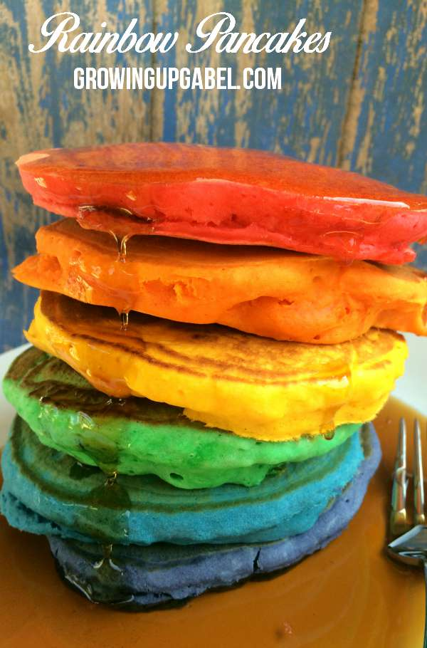 Learn how to make rainbow pancakes for kids using any pancake recipe and food coloring! Easy to make these pancakes make a fun sweets breakfast!