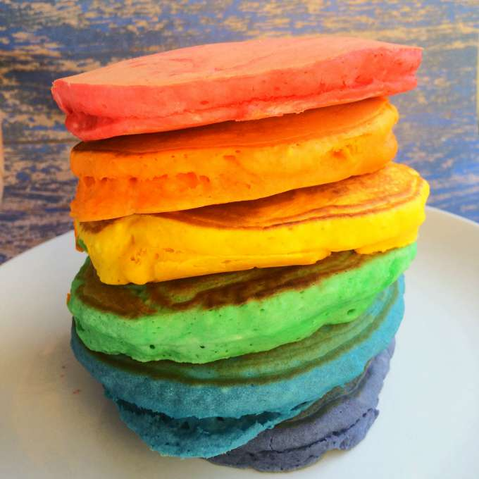 Each bowl will make one pancake and you'll end up with one rainbow ...