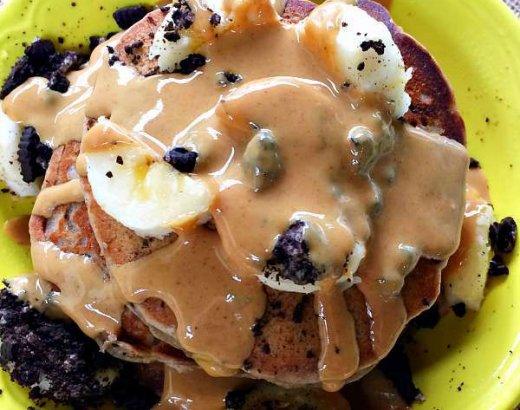 Oreo Peanut Butter Banana Pancakes