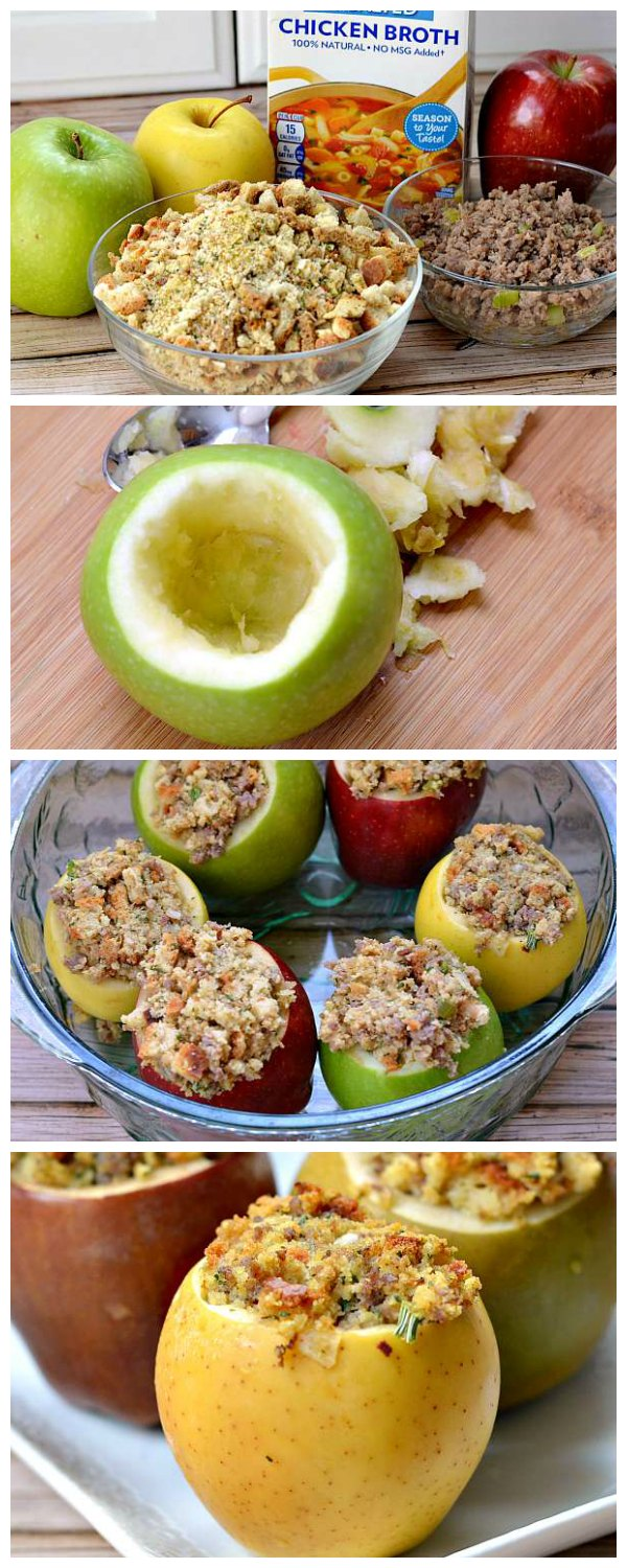 Serve stuffing inside apples this year! Dress up any dressing recipe and then bake in apples for a fun way to serve dressing. Perfect for Thanksgiving!