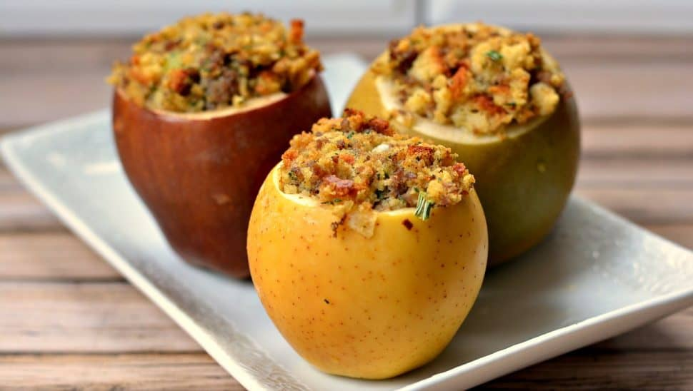 Savory Baked Apples with Sausage Stuffing Recipe