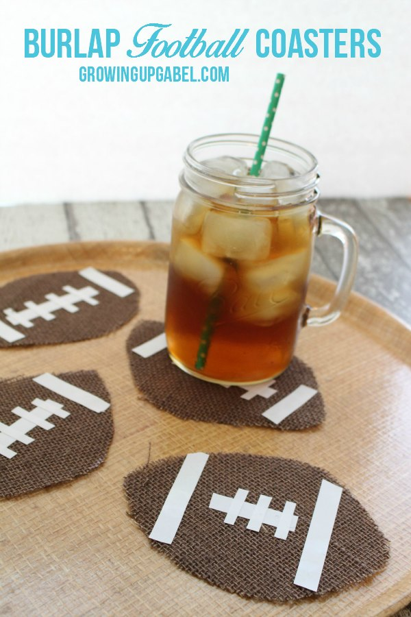 Burlap Football Coasters are the perfect no sew craft for football season!