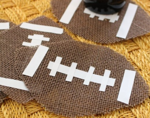 Burlap Football Coasters