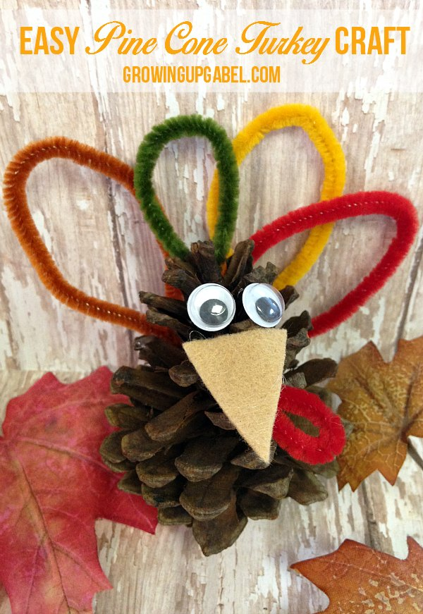 You only need a few basic craft supplies to make this easy pine cone turkey craft for kids! Use to decorate the Thanksgiving table for a festive holiday celebration.