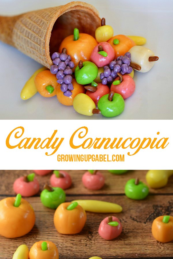 A fun and easy Thanksgiving treat to make for kids and adults! Turn candy in to mini fruits and vegetables and then fill a sugar cone cornucopia. Perfect for Thanksgiving!