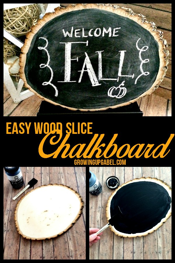 Make the easy DIY chalkboard in just a few minutes with three craft supplies! Turn a wood slice in to a cute chalkboard you can use all year round.
