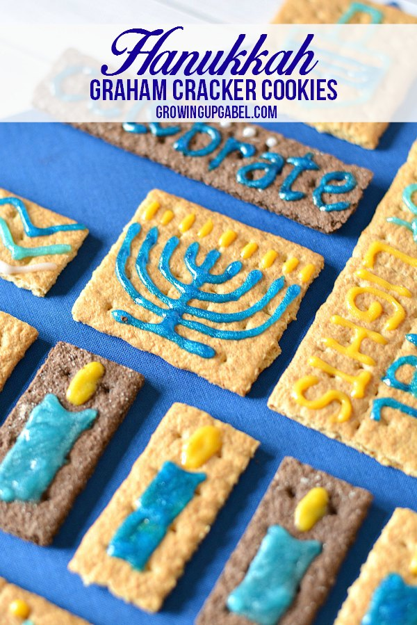 "Use graham crackers to make these easy Hanukkah ""cookies""! Kids love making these and learning about the symbols and words of Hanukkah."