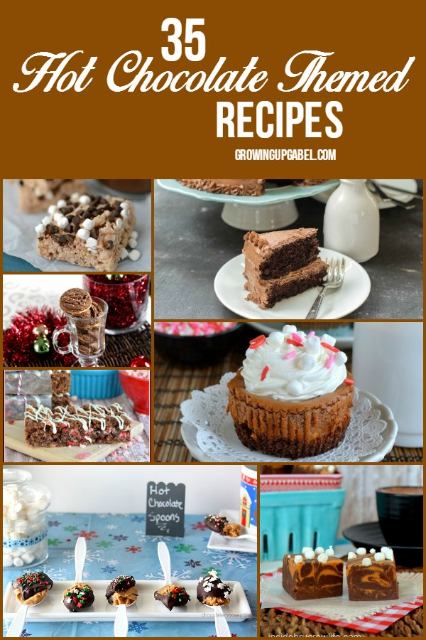 Love hot chocolate? Then check out these FUN hot chocolate themed recipes! From oatmeal to cake to granola bars, there is a recipe here for every hot cocoa lover!