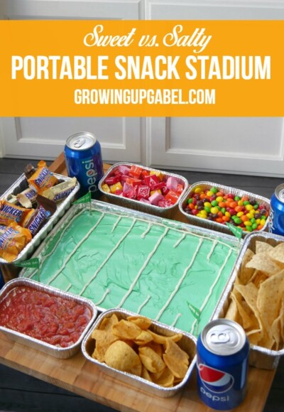 This Snack Stadium is not only super quick and easy to make, but it's also completely portable! Ready in about 15 minutes, take this snack stadium to your next football party!