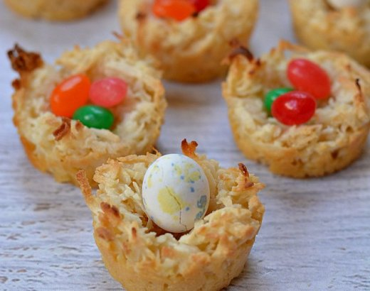 Coconut Bird Nest Cookies Recipe with Jelly Beans