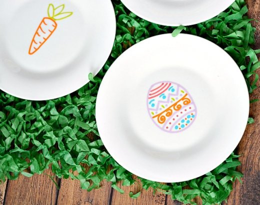 Easter Plates Made with Paint Markers