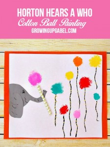 Horton the Elephant & His Clover Cotton Ball Painting