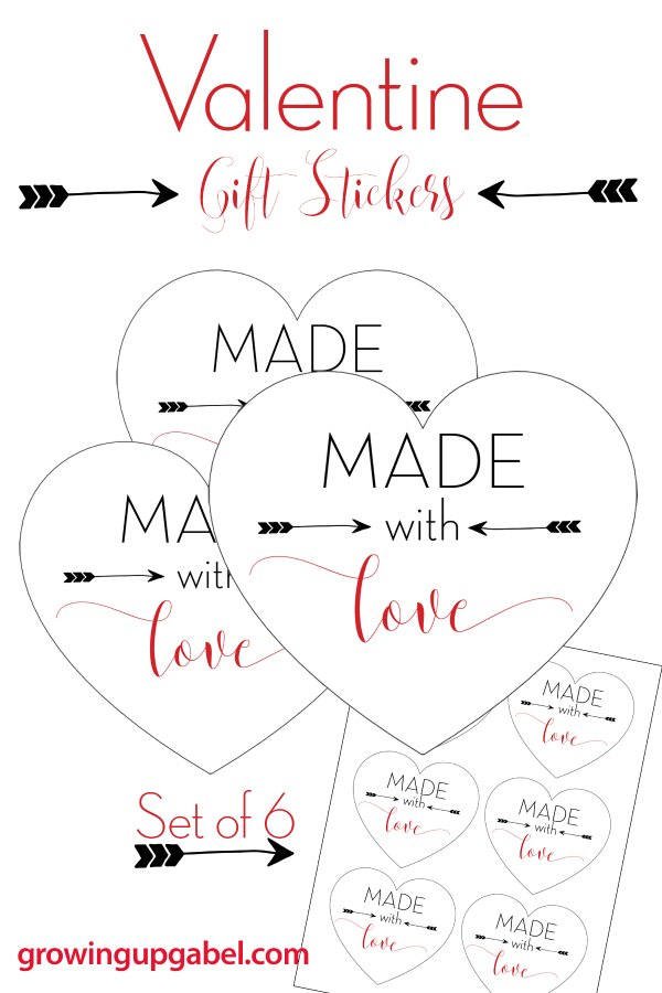 "Need printable tags for homemade gifts? These cute ""Made with Love"" printable tags are perfect for Valentine's Day or any homemade gift!"