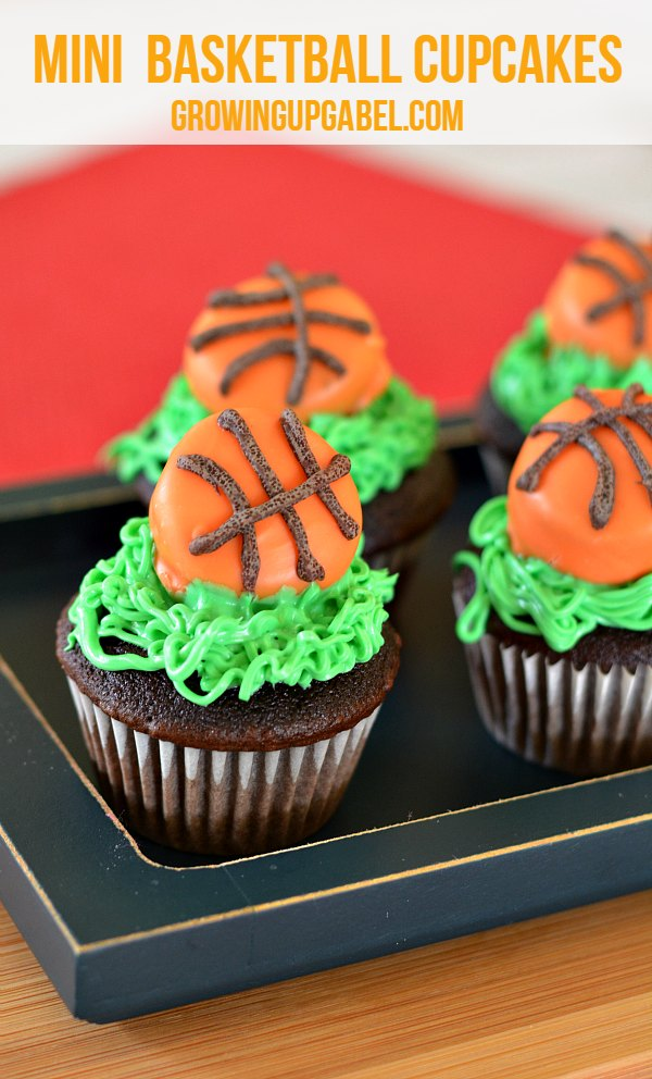 Mini Basketball Cupcakes are a fun addition to a birthday party or for college basketball tournament! You won't believe what the basketballs are made from!