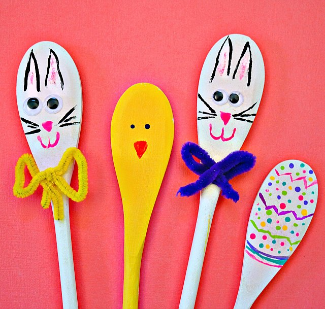 Painted Wooden Spoons Craft for Easter