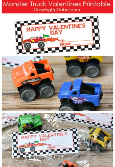 Need a Valentines for boys? Check out these monster truck Valentine's Day printables! Use with tiny monster trucks for the dollar store a fun non-candy Valentine!