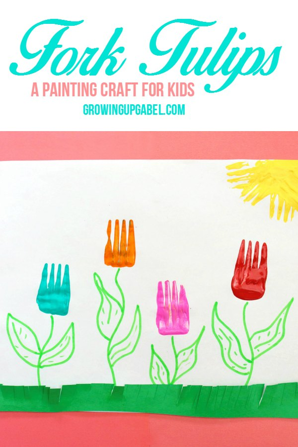 Do your kids love to paint? Grab some plastic forks and let them create tulips in this fun painting crafts for kids! This is the perfect spring break activity! Or make cards for Easter or Mother's Day.