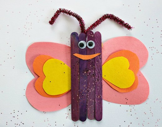 Popsicle Stick Butterfly Craft for Kids