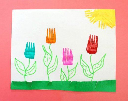 Fork Tulips – Painting Crafts for Kids
