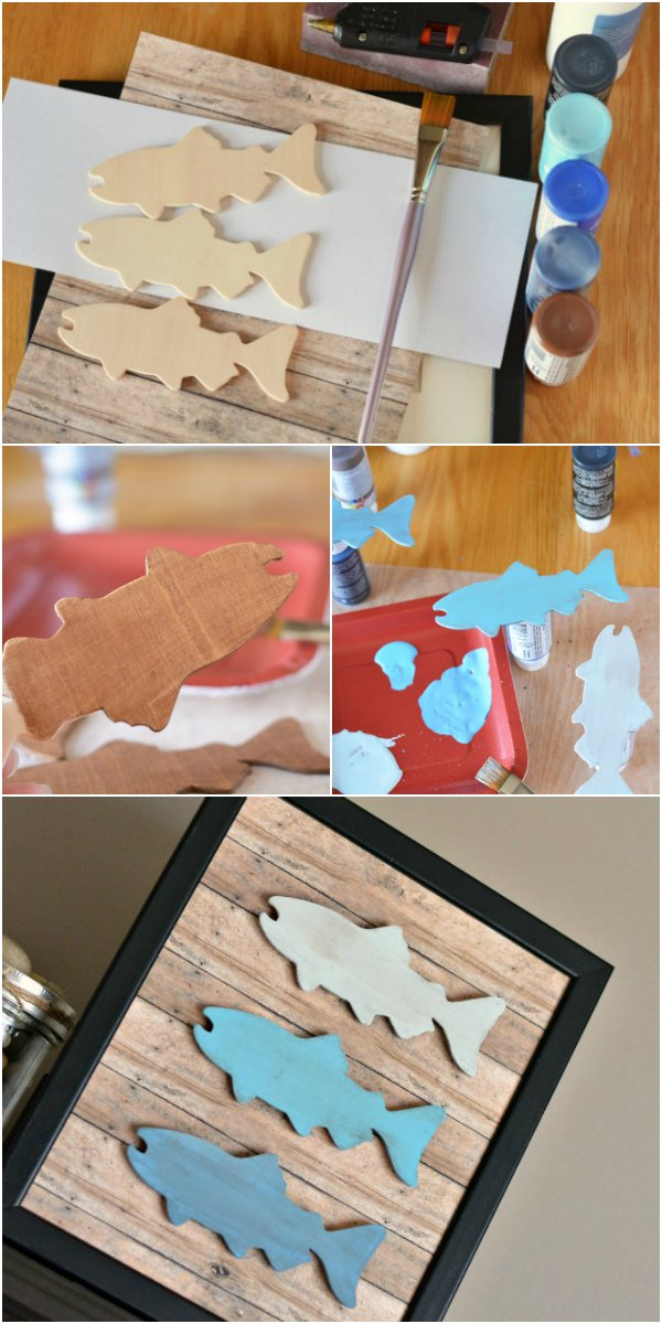 Make this DIY Father's Day fishing craft as a gift for the fisherman in your life! This rustic frame look is created using wooden fish and faux wood craft paper and is great for kids to help make.