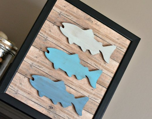 Rustic Fisherman Ombre Fish Frame