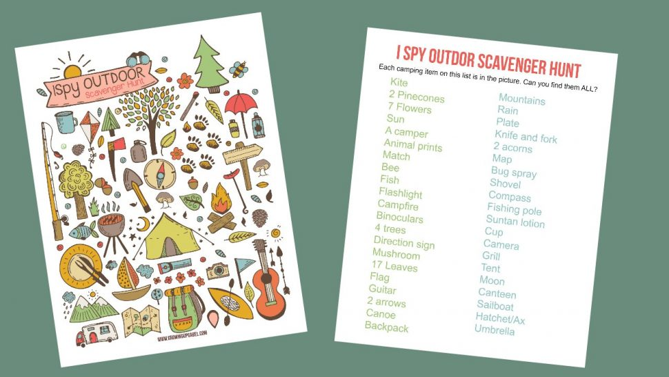 Browse Home Family Travel Camping I Spy Game Printable