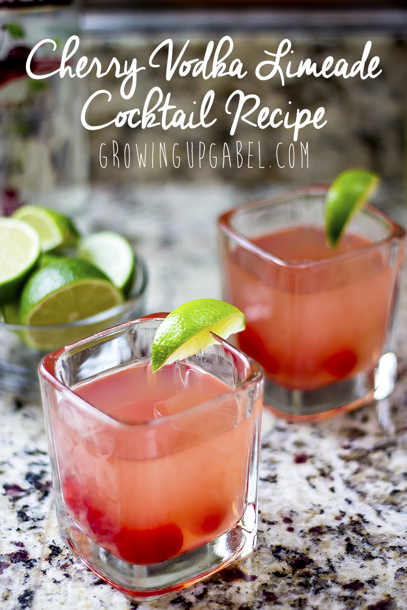 This cherry vodka limeade cocktail recipe combines two ingredients to make an easy, refreshing cocktail for your summer evenings on the patio.