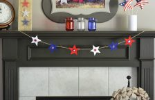 Thread felt stars through twine for an easy DIY star garland. Perfect for the Fourth of July decorations or all summer long!