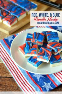 Looking for a fun and easy red white and blue dessert recipe for Fourth of July? Whip up this red white and blue vanilla fudge! Made with cream cheese, this fudge recipe is easy enough for the kids to help make, too.