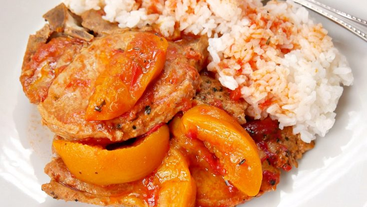 Spicy Slow Cooker Pork Chops and Peaches
