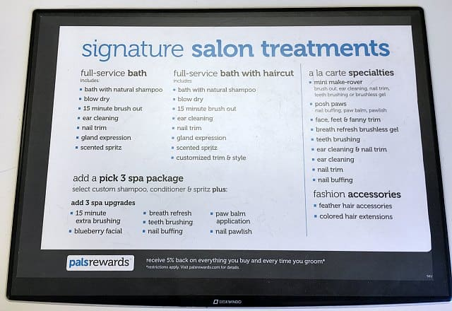 Petco Dog Grooming Menu