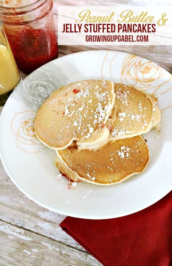 Peanut Butter and Jelly Stuffed Pancakes