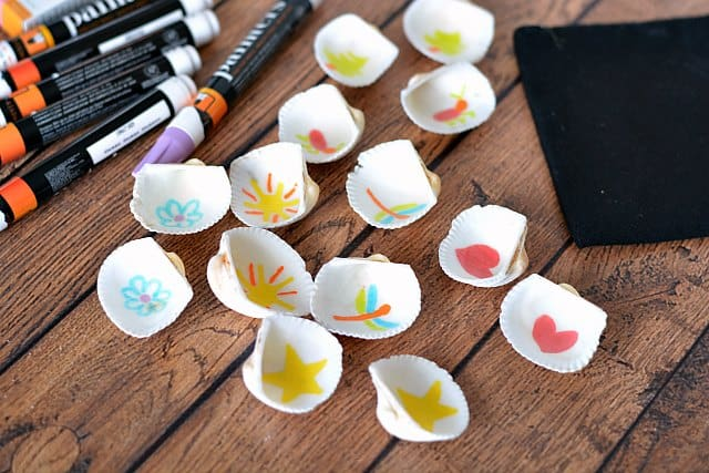 Seashells with matching drawings inside for a memory game