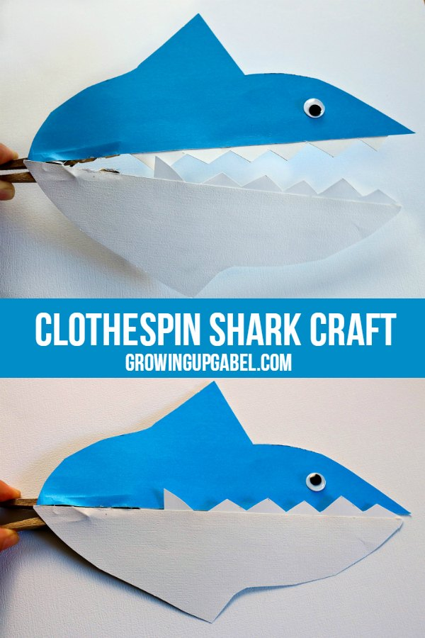 This fun clothespin shark kid craft is easy to make with just paper, glue and a clothespin. Make a whole school of sharks and perform puppet shows!