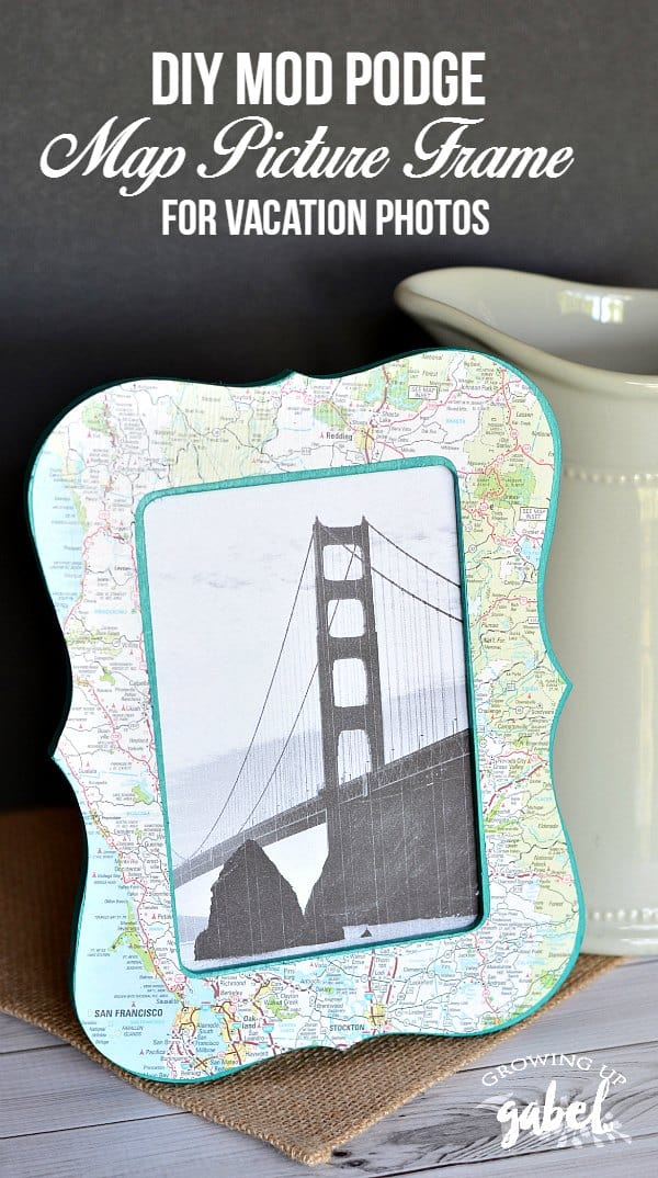 This DIY Map Picture Frame craft is a fun way to remember vacations and travel. An inexpensive wood craft frame is covered with a map using Mod Podge. Add in a personal photo to make a one of a kind travel memento.