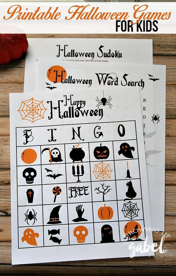 Free printable games make fun Halloween activities for kids! A Halloween word search, Halloween Bingo, and Halloween Sudoku are great for parties or to keep kids occupied before trick or treating!