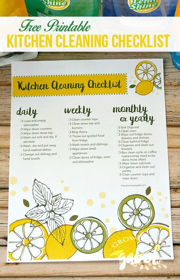 This printable kitchen cleaning checklist includes daily, weekly, monthly and yearly chores that will help keep your kitchen sparkling!
