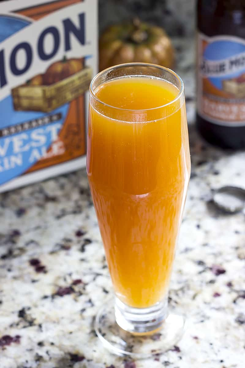 Pumpkin Beermosas are beer cocktails with a fall twist. Use your favorite pumpkin beer to customize to your tastes. This is a great cocktail for your next Halloween party!