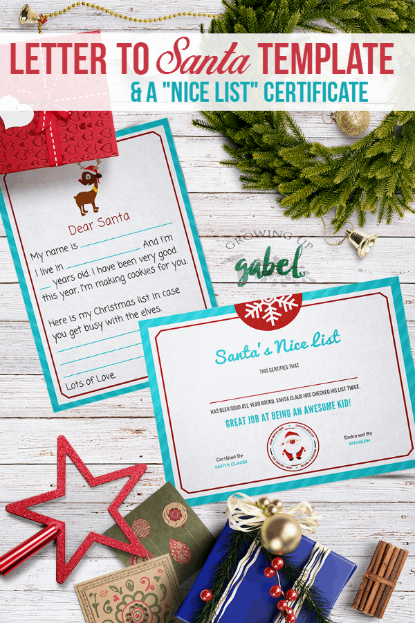 "Free printable letter to Santa template kids fill in the blanks with a wish list! Santa returns the favor with a ""Nice List"" certificate."