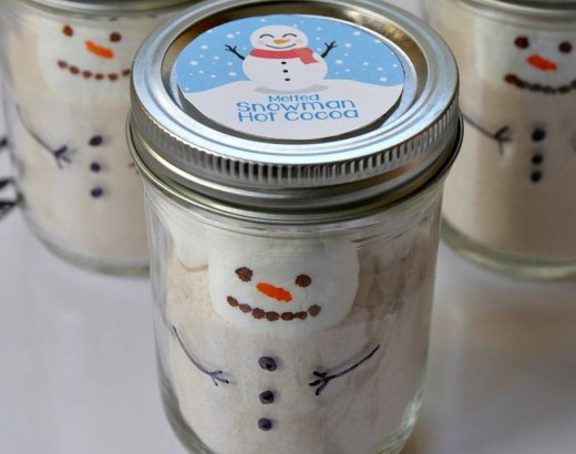 Melted Snowman Hot Chocolate Gift Jars