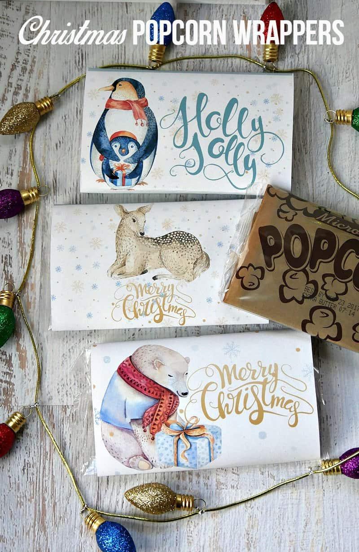 whimsical christmas popcorn wrapper printables