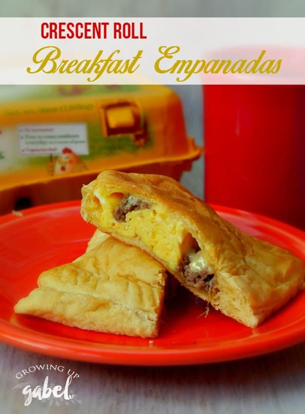 Breakfast empanadas are an easy on the go breakfast made with crescent rolls and filled with eggs, sausage and cheese.